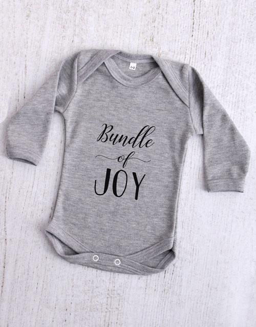 apparel: Bundle of Joy Grey Baby Onesie!