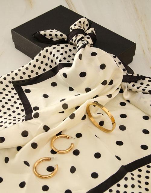 birthday: White And Black Polka Dot Silk Scarf Combo!