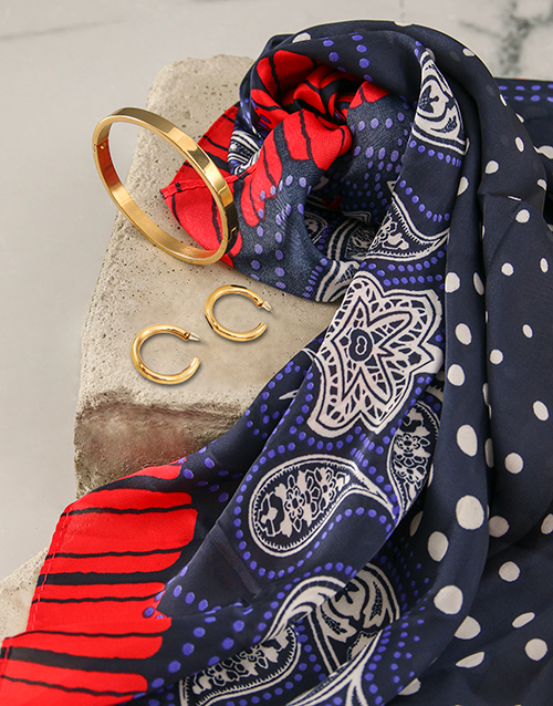 apparel: Red And Navy Polka Dot Silk Scarf Combo!