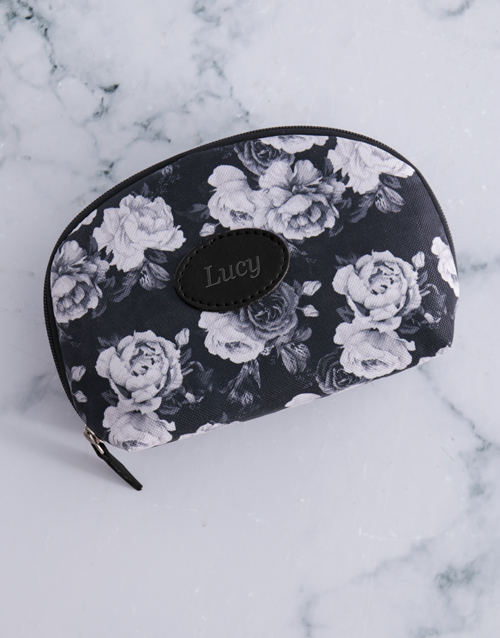 gifts: Personalised Black Roses Cosmetic Bag!