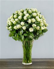 Picture of 100 White Roses in a Tall Glass Vase!