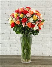 Picture of 100 Mixed Roses in a Tall Glass Vase!