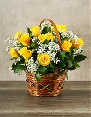 Picture of Woven Basket of Yellow Roses!
