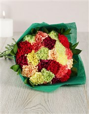 Picture of Mixed Carnation in Green Wrapping!