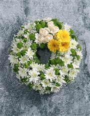 Picture of Wreath of Yellow Gerberas and Roses!