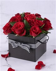 Picture of Red Roses in a Black Gift Box!