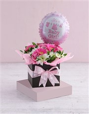 Picture of Baby Girl Floral Box with Balloon!