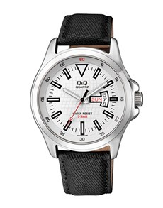 gifts: QQ Steel White Dial Black Leather Strap Watch!