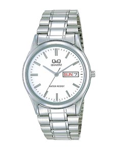 gifts: QQ Gents Steel White Dial Day Date Watch!