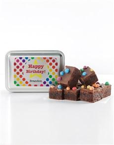 bakery: Personalised Polka Dot Birthday Astro Brownie Tin!