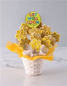 bakery: Personalised Get Well Soon Floral Cookie Bouquet!