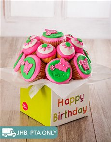 bakery: Happy Birthday Pink Cupcake Bouquet !