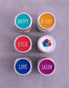 bakery: Personalised Bright Birthday Cake Jars!