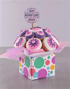 bakery: Personalised Happy Birthday Flower Cupcake Bouquet!