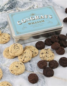 bakery: Personalised Congrats Choc Chip Tin!