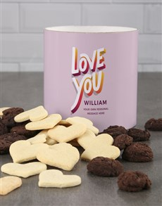gifts: Personalised Colourful Love You Cookie Tube!