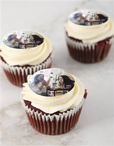 bakery: Personalised Red Velvet Photo Cupcakes!