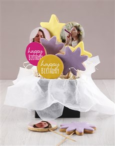 bakery: Personalised Birthday Pink Cookie Bouquet!