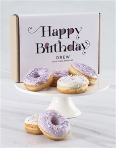 bakery: Personalised Lilac And White Doughnut Box!