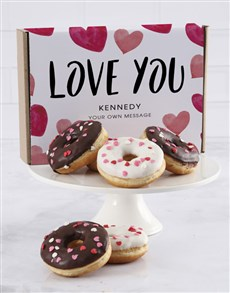 bakery: Personalised Love Heart Doughnut Box!