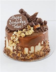 bakery: Personalised Chocolate Caramel Pop Drip Cake!