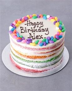 bakery: Personalised Naked Rainbow Birthday Cake!