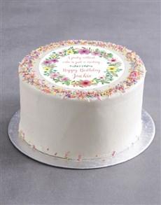 bakery: Personalised Floral Birthday Cake!