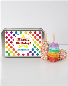 gifts: Birthday Cakes on a Stick in a Personalised Tin!