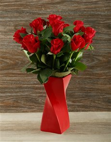 flowers: Red Roses in Red Twisty Vase!