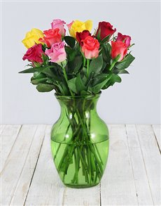 flowers: Mixed Roses in Lime Green Vase!