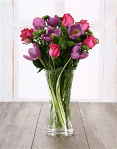 flowers: Purple Tulips and Cerise Roses in a Vase !