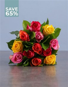 flowers: Bright Mixed Rose Blooms!