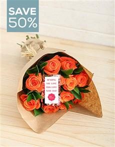 flowers: Sunset Orange Rose Bouquet!