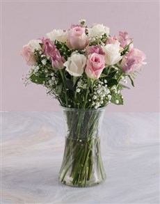 flowers: Mothers Day Pastel Mixed Rose Arrangement!