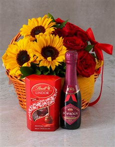 flowers: Basket Of Sunshine And Roses!