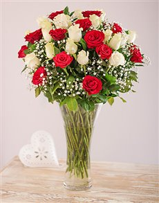 flowers: Vase of Red and White Roses!