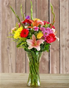 gifts: Glass Vase of Colourful Flowers!
