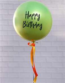 gifts: Metallic Green And Yellow Ombre Balloon Gift!