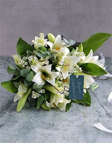 flowers: White Lily Sympathy Bouquet!
