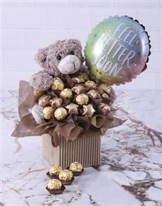 flowers: Choc Teddy Feel Better Edible Arrangement!