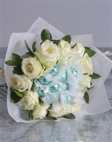 gifts: White Rosy Chocolate Arrangement!