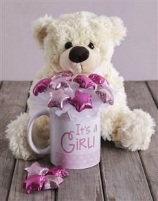 flowers: Its a Girl White Bear Arrangement!