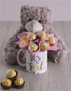 flowers: Its a Girl Brown Bear Arrangement!