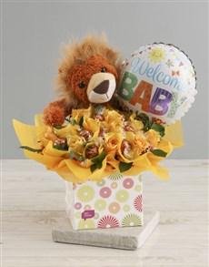 gifts: Welcome Baby Edible Yellow Arrangement !