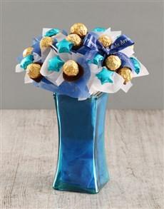 gifts: Blue Ferrero Edible Arrangement!