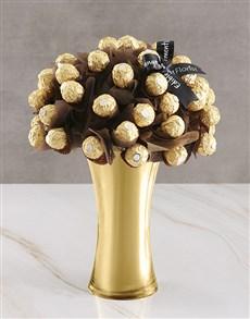 flowers: Gold Ferrero Edible Arrangement!