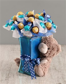 flowers: Blue Chocolate Bouquet with Bear!