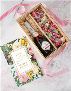 gifts: Personalised Happy Birthday Bubbly and Roses Crate!
