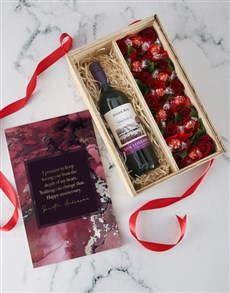 gifts: Personalised Anniversary Wine and Roses Crate!