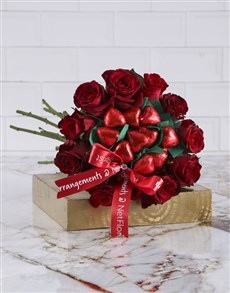 flowers: Red Rose Heart Choc Bouquet!
